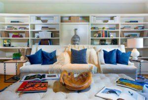 interior design - blue pillows - beautiful homes