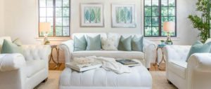 luxury real estate, white couch green pillows
