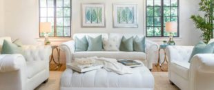 white-couch-green-pillows