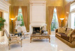 beautiful homes, gold living room,luxury real estate