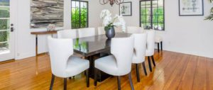 luxury dinning room, los angeles design, white chairs