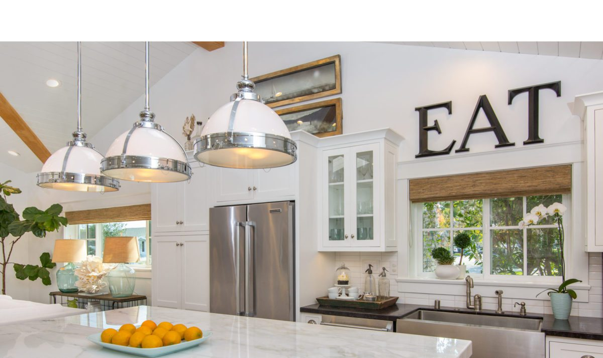 kitchen decor , lighting design, all white