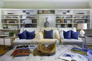 Los Angeles Real Estate Photo, interior Design, Blue Pillows and White sofa