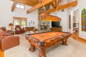 wood pool table, equestrian decor, luxury real estate, room ideas