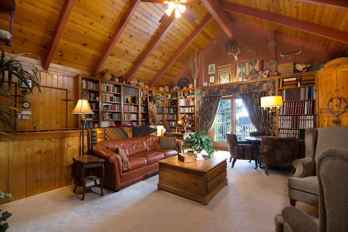 cabin decor - cabin living room - cabin library - Orange ...